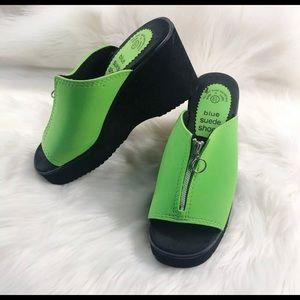 VTG 90s Neon Raver Goth Wedge Slides Sandals 8.5